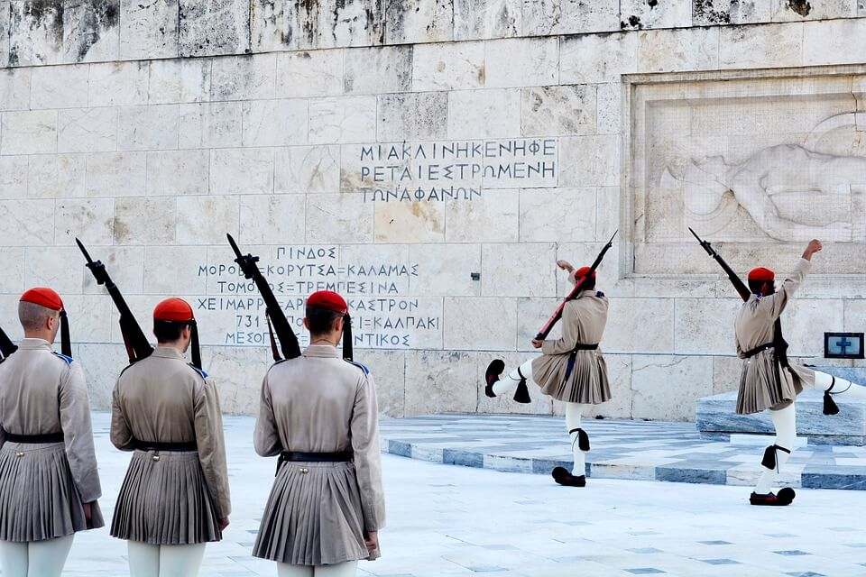 Guard in front of the Athens Parliament